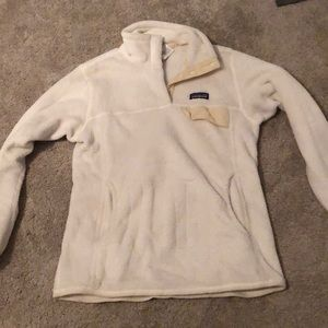 White Patagonia quarter button sweatshirt